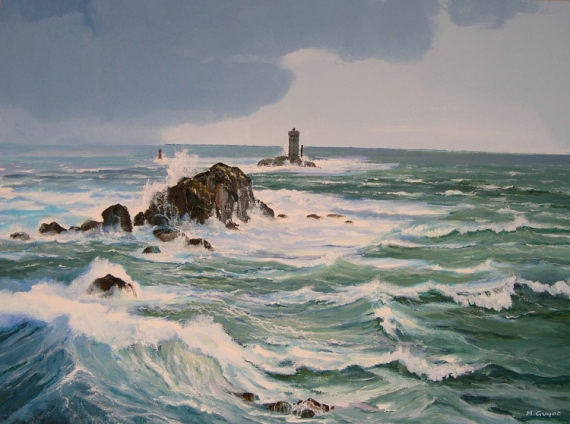 tableau peinture bretagne mer pointe du raz phare pointe du raz. Black Bedroom Furniture Sets. Home Design Ideas