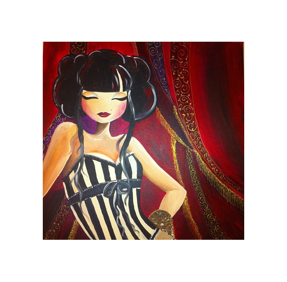 tableau cabaret manga chinoise rouge personnages acrylique chinese p