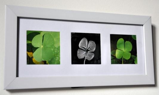 tableau peinture cadre trefle vert argent cadre triptyque tr fle. Black Bedroom Furniture Sets. Home Design Ideas