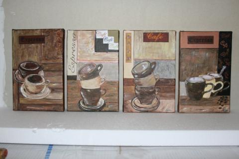 Tableau peinture caf cuisine tasses deco ensemble tasses for Peinture acrylique cuisine