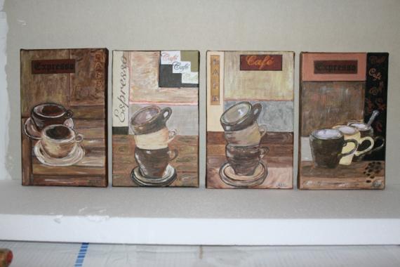 tableau peinture caf cuisine tasses deco ensemble tasses