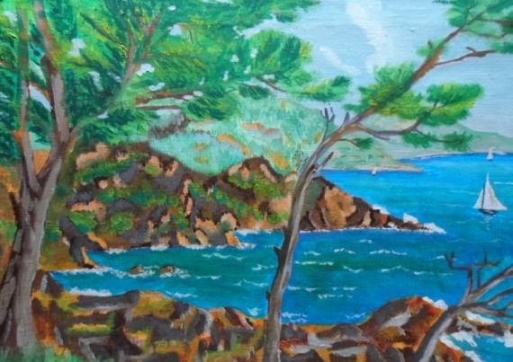 Tableau peinture calanque mer bleu huile les calanques for Peinture bleu marine