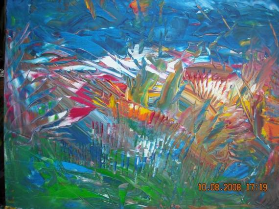 Tableau peinture campagne champ de fleurs couleurs chaudes - Tableau couleur chaude ...