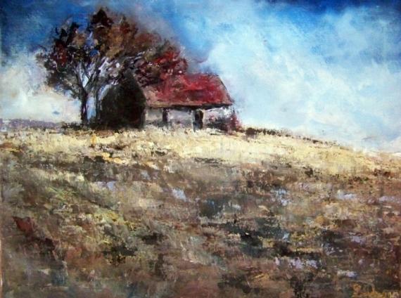 Tableau peinture campagne maison champ nature maison for La maison de la peinture