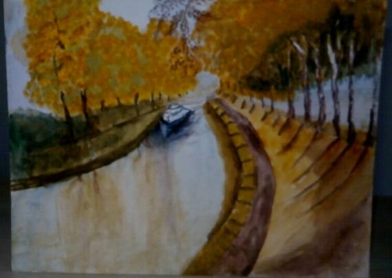tableau peinture canal midi peniche automne