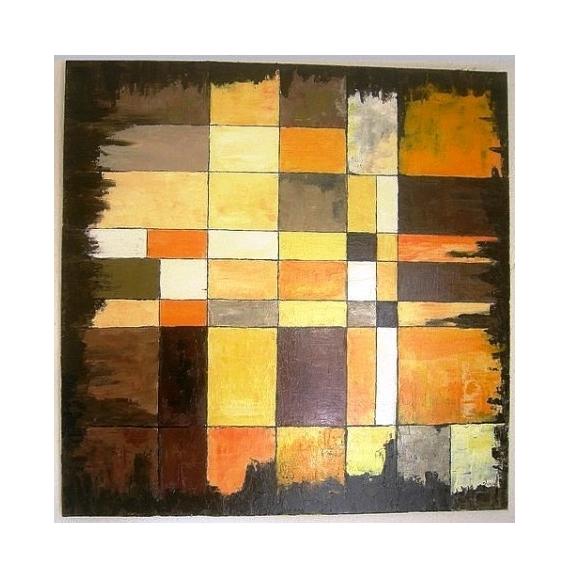 Tableau Peinture Carr Jaune Orange Abstrait Automne