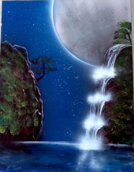 tableau cascade d'eau