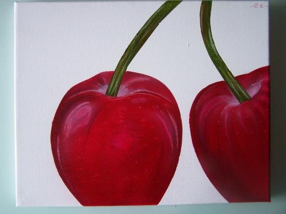 Tableau peinture cerise tableau arographe acrylique - Peinture rouge cerise ...