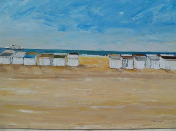 Tableau peinture chalets plage sable mer chalets plage - Tableaux mer et plage ...