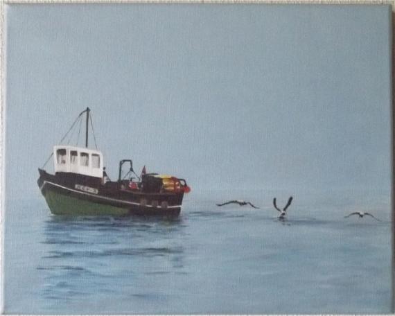 Tableau peinture chalutier mouettes marine pche par mer - Peinture couleur peche ...