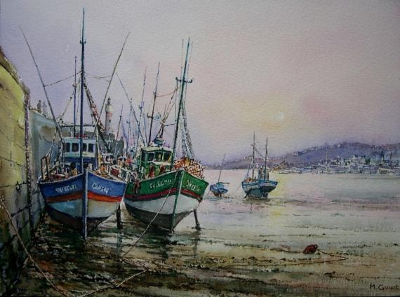 Tableau peinture chalutiers pche bretagne couchant le soir sur le port - Peinture couleur peche ...