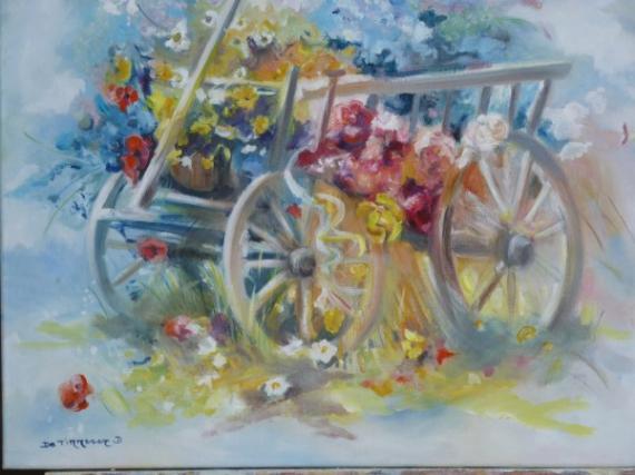 tableau peinture chariot fleur defile campagne corso fleuri. Black Bedroom Furniture Sets. Home Design Ideas
