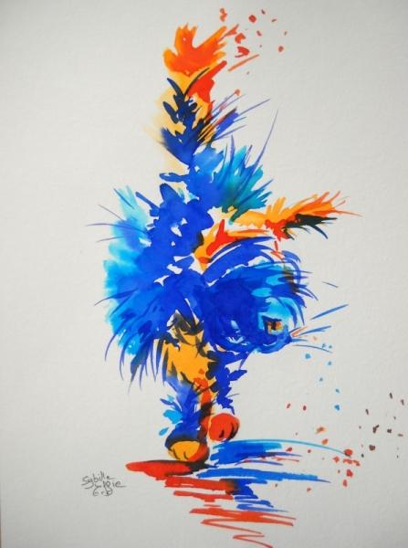 Célèbre TABLEAU PEINTURE chat aquarelle encre colorée féerie - Osiris VK12