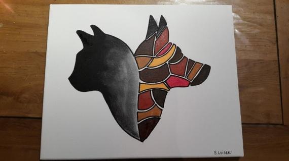 tableau peinture chat chien amiti color amiti. Black Bedroom Furniture Sets. Home Design Ideas