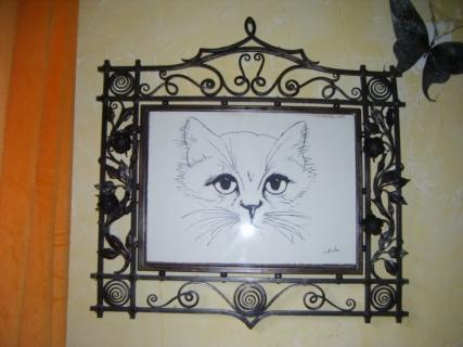tableau peinture chat sur fer forg. Black Bedroom Furniture Sets. Home Design Ideas