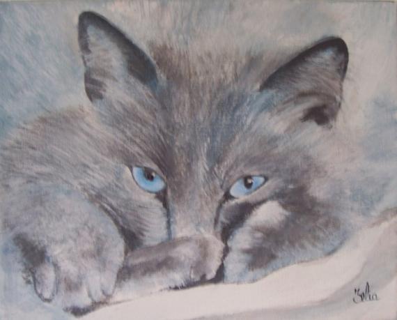 chats peinture acrylique