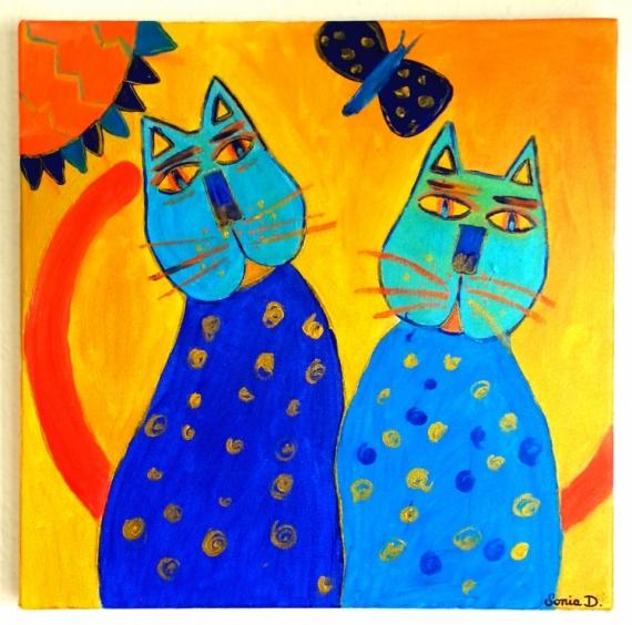 Célèbre TABLEAU PEINTURE chats colorés moderne - chats colorés VK12