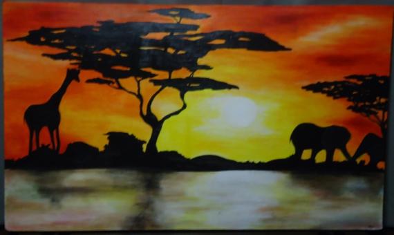 Pin tableau design peinture moderne rouge peintures par - Tableau couleur chaude ...