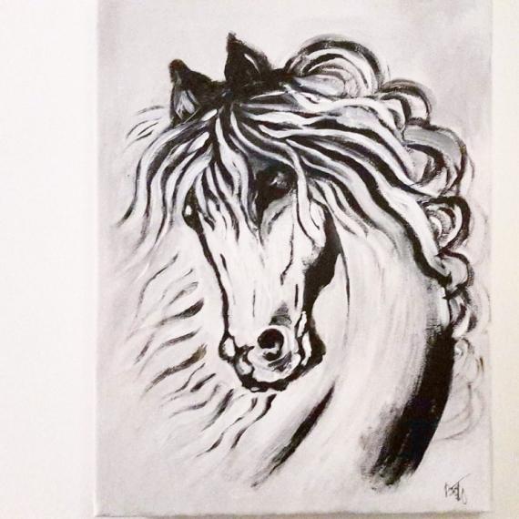 Tableau peinture cheval animaux tableau moderne tableau acrylique sur toile cheval giorgio - Tableau peinture acrylique moderne ...