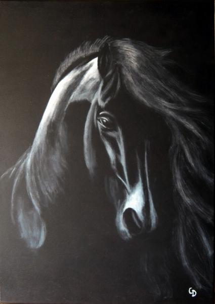 Tableau peinture cheval animaux toile acrylique 235 for Peintures en noir et blanc