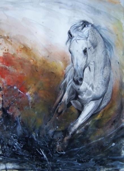 Tableau peinture cheveaux cheval galop hippique cheval - Dessin de chevaux sauvage ...