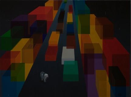 tableau peinture chien solitude futur ville solitude. Black Bedroom Furniture Sets. Home Design Ideas