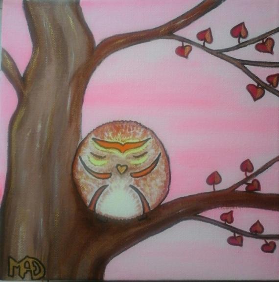 Tableau peinture chouette oiseau dco chambre enfant original la petite chouette - Deco chambre original ...