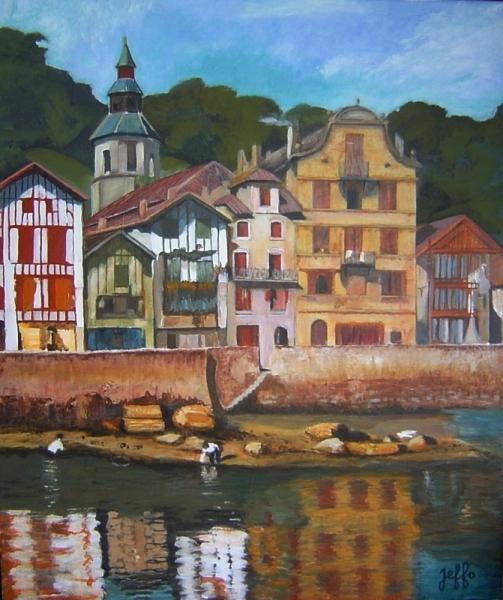Tableau peinture ciboure maison maurice ravel pays baque for Peinture acrylique maison