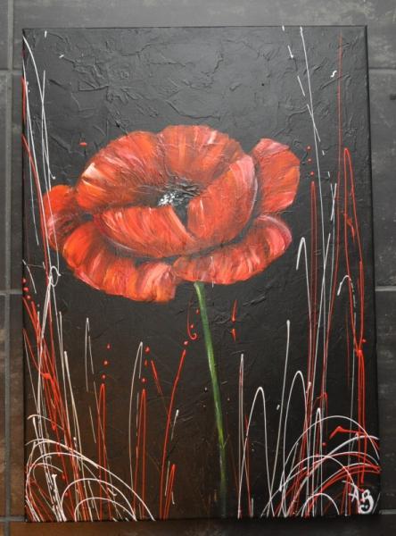 tableau peinture coquelicot rouge moderne comtemporain