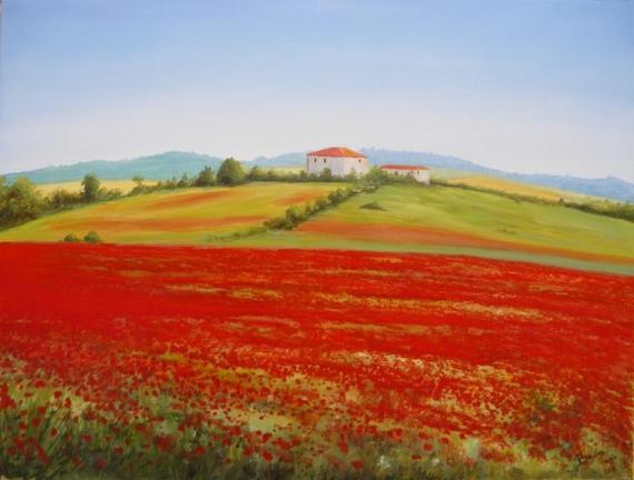 Tableau peinture coquelicots champ campagne paysage for Tableau de coquelicot en peinture