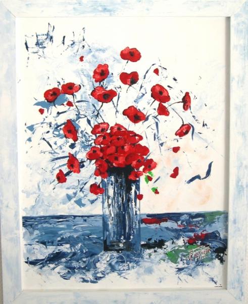 Exceptionnel TABLEAU PEINTURE coquelicots fleurs nature bouquet - bouquet SQ94
