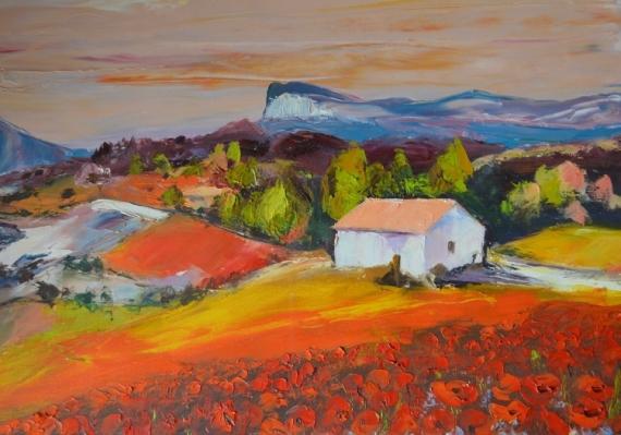 TABLEAU PEINTURE Coquelicots Provence Peinture couteau Paysage ...