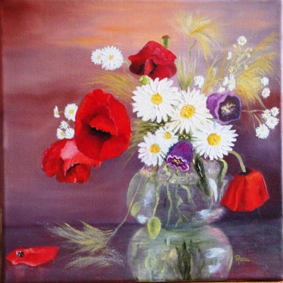 TABLEAU PEINTURE coquelicots rouge vase transparence Fleurs Peinture a  l\u0027huile , Fleurs des champs