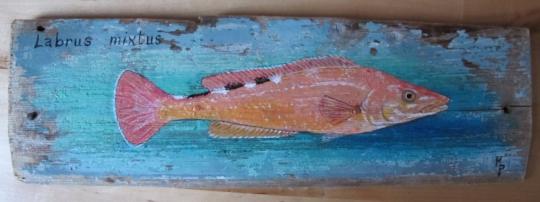 Tableau peinture coquette poisson bois peinture bois for Peinture sur bois flotte