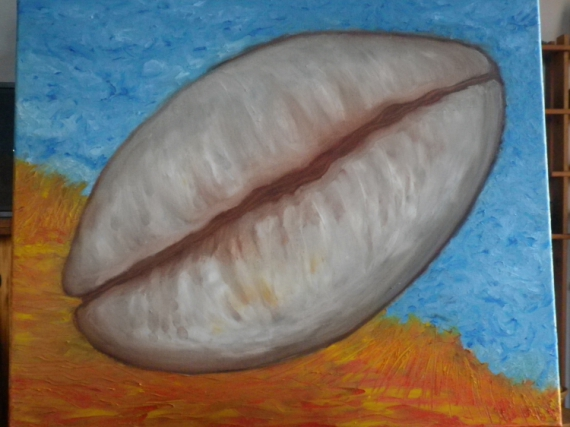 Tableau peinture coquillage marin monnaie afrique kori d for Peinture a lhuile couleur argent