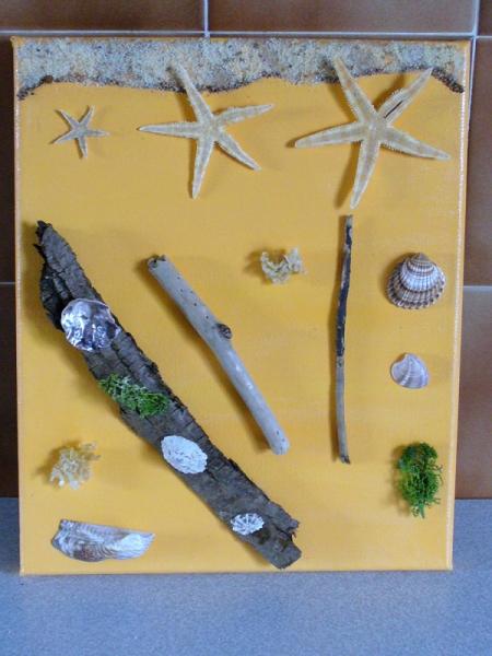 Tableau peinture coquillage sable bois flott tableau for Tableau avec bois flotte