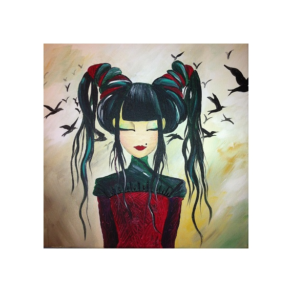 tableau corbeaux chinoise manga personnages acrylique lady les p