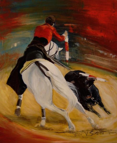 Tableau peinture corrida cheval quiebro - Tableau de cheval ...