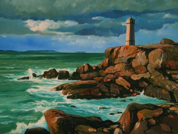 Tableau peinture cte d 39 armor phare ploumanach bretagne le phare de ploumanach - Cote d un artiste peintre ...