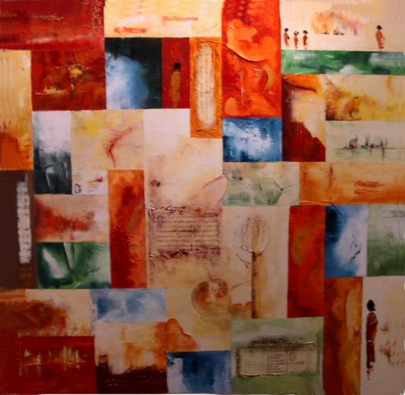 Bien connu TABLEAU PEINTURE couleurs chaudes mosaïque relief souvenirs - A  LG87