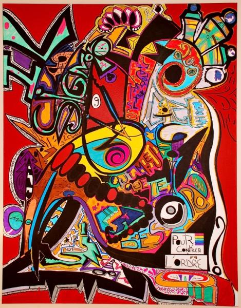 Tableau peinture couleurs color abstrait joyeux il - Tableau colore design ...
