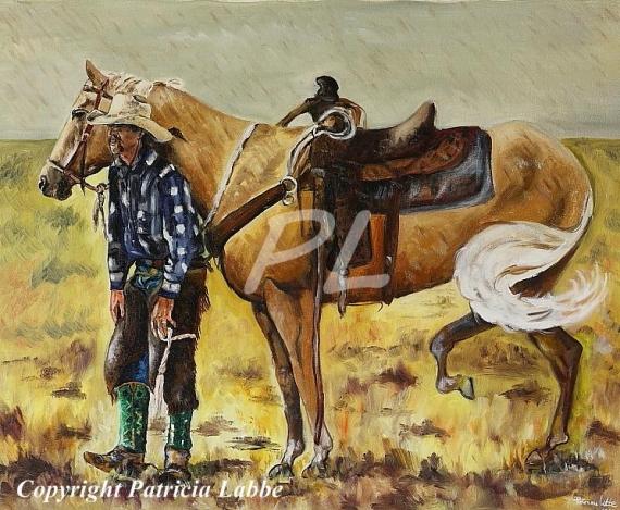 Tableau peinture cow boy cheval orage amrique instant de complicit entre un cow boy et son cheval - Tableau de cheval ...