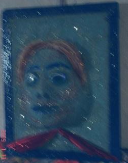 tableau peinture crealuc abstrait visage femme sable bleu. Black Bedroom Furniture Sets. Home Design Ideas