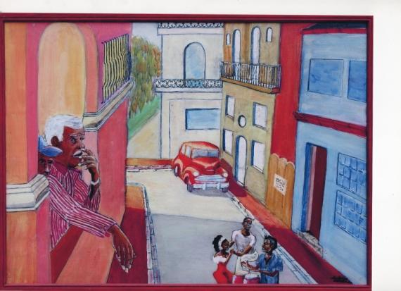 tableau peinture cuba rue danseurs voiture cuba 1. Black Bedroom Furniture Sets. Home Design Ideas