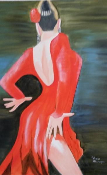 Tableau danseuse flamenco moderne danse femme portrait tableaux garden - Peinture danseuse de flamenco ...