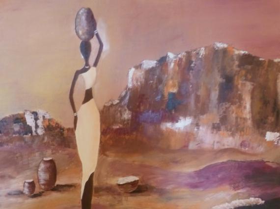 tableau peinture desert africaine eau montagne - vie africaine - Peinture A L Eau Sur Peinture A L Huile