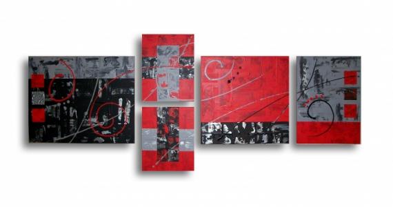 Tableau Peinture Design Rouge Noir Moderne Tableau Toile Rouge Noir Gris Blanc Art