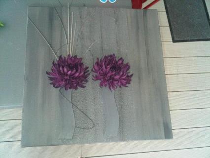 Tableau peinture design violet gris f pourpre - Peinture violet gris ...