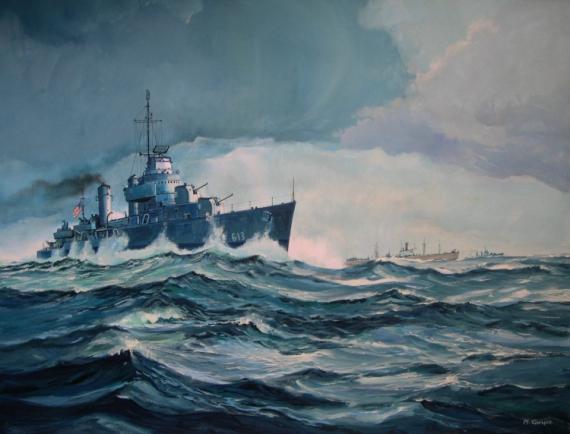 tableau peinture destroyer us navy convoi 2 guerre mondiale convoi dans l 39 atlantique. Black Bedroom Furniture Sets. Home Design Ideas