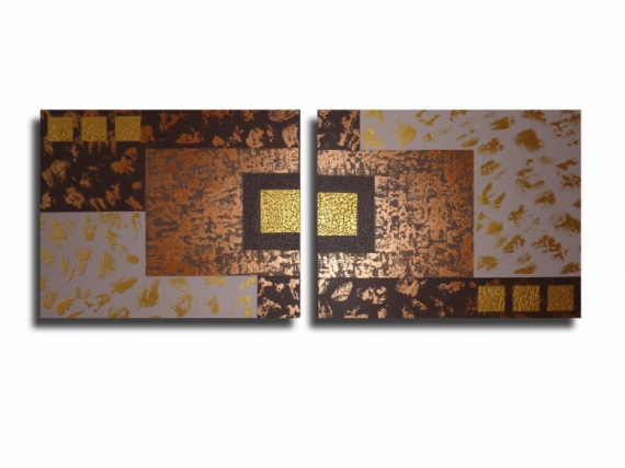 tableau peinture diptyque marron beige moderne tableau toile diptyque contemporain dor marron. Black Bedroom Furniture Sets. Home Design Ideas